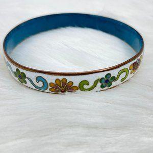 Vintage Enamel Floral Bangle